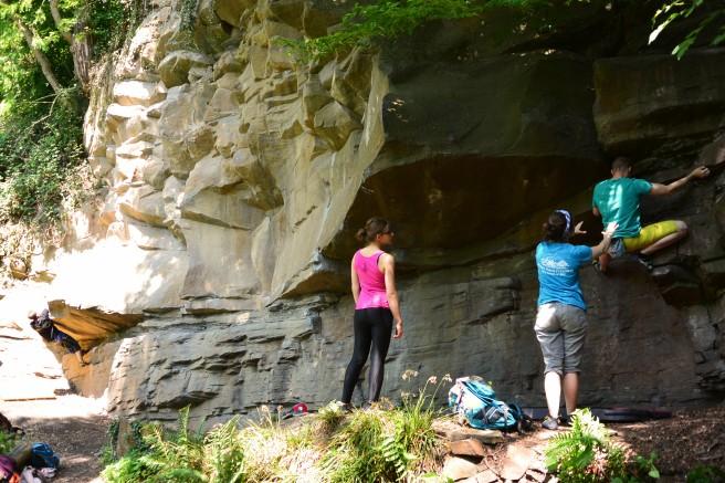 Bei diesem Boulderproblem ist es besser einen Spotter zu haben