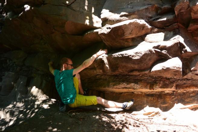 Boulderquergang auf der oberen Terrasse