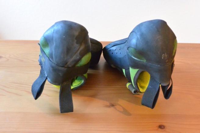 Vorher-Nachher-Bild: Simond Vuarde Tech Green (linker Schuh: nach circa 30 Klettersessions)
