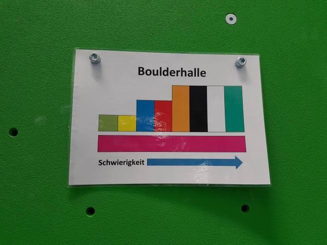 Die Boulderhalle hat drei Schwierigkeitsgrade plus rosa Boulder in allen Graden